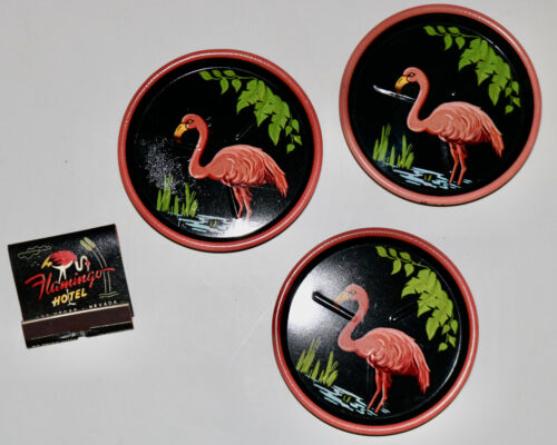 pink flamingo vintage metal drink coasters Flamingo Las Vegas match book
