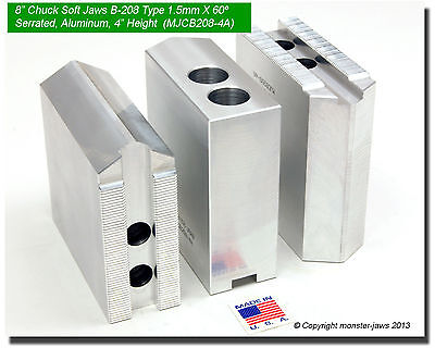 "2.5/"" HT, 0.827 Grv 12/"" Aluminum Jaws 1.5mm x 60° Serrated fits B-212 Pointed"