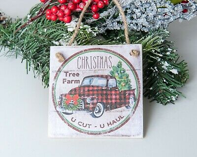 Farm Truck Wood Christmas tree ornament Decor Cabin Holiday Farmhouse plaid  ()