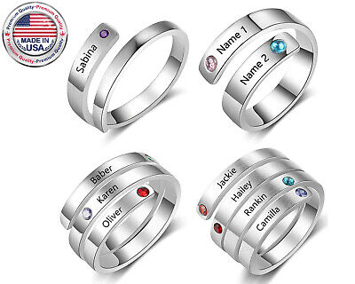 Kids Birthstone Rings (Mothers Ring Birthstone Personalized Engraved Kids Names Family Grandmother)