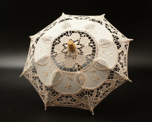 "Mini 10""  Ivory Lace Parasol Umbrella Bridal Shower Party Photo Prop Decor"
