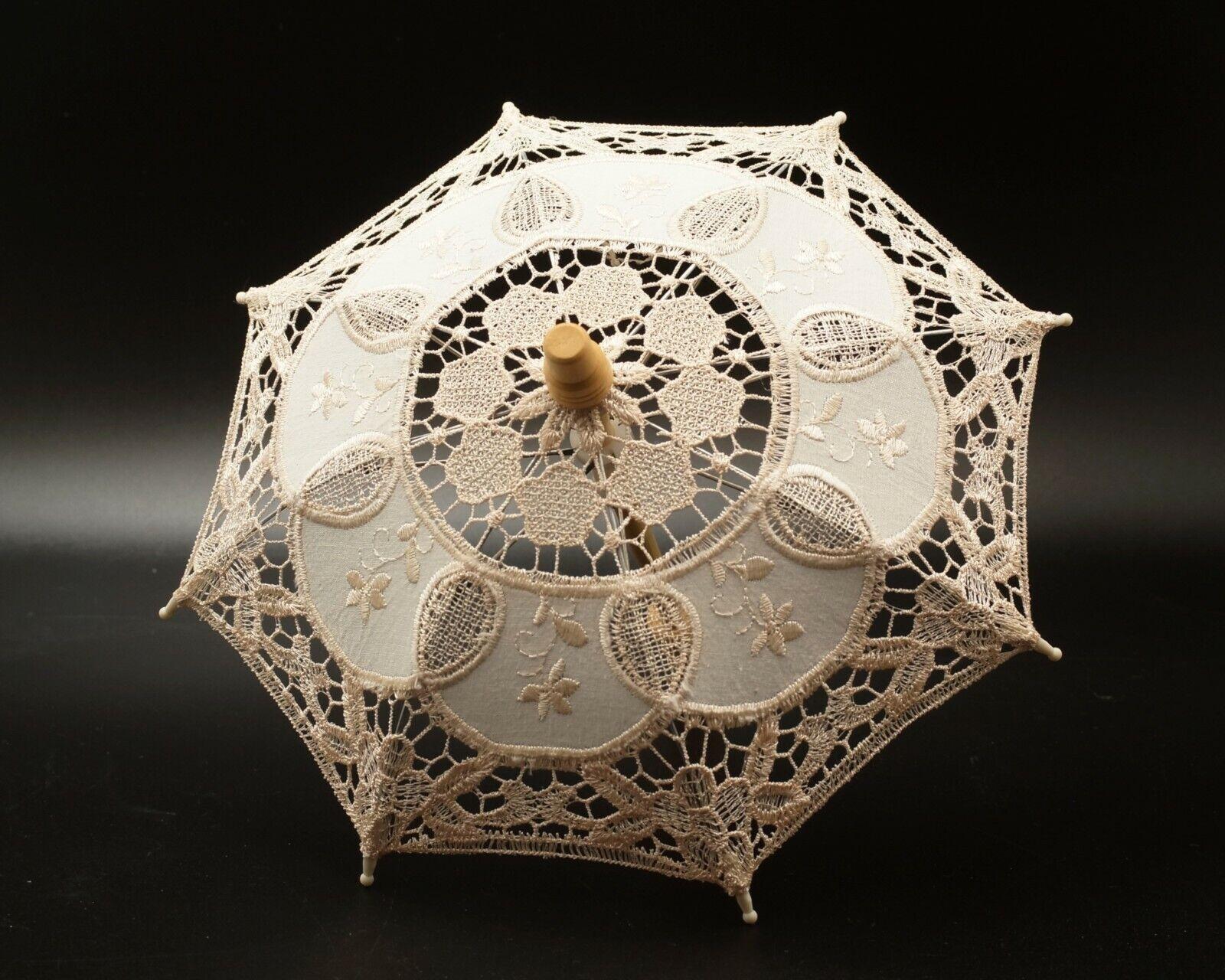 "Mini 11.5""  Ivory Lace Parasol Umbrella Bridal Shower Party"