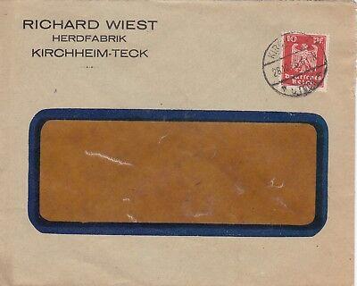 KIRCHHEIM-TECK, Briefumschlag 1926, Richard Wiest Herd-Fabrik