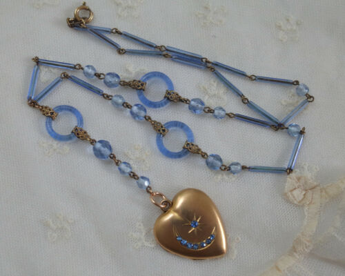 Antique Crescent Moon/Star Locket Czech Bohemian Glass Necklace Signed SKM Co