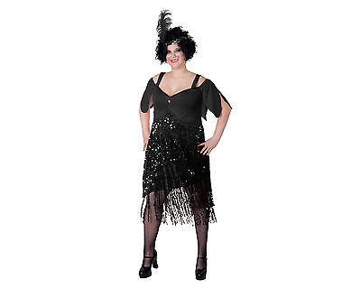 New Women 1980s Flapper Black Dress Skirt Plus Size XL 2XL 3XL Halloween Costume - 1980s Costumes Plus Size