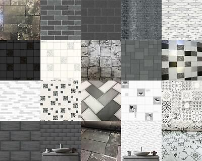 Kitchen Bathroom Tile Stone Wallpaper Washable Vinyl Black White Glitter Vinyl