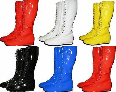 PRO WRESTLING COSTUME BOOTS YELLOW BLACK RED WHITE BLUE COSPLAY HALLOWEEN S-XL](Blue Costume Boots)