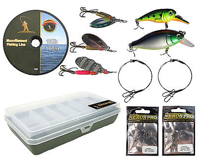 PIKE FISHING SPINNING TACKLE BOX SET TRACES SPINNERS PLUGS SWIVELS LINE LURES