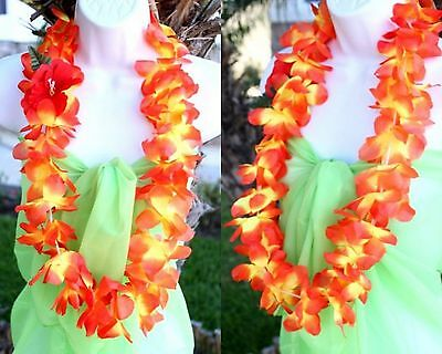 TWO Hawaiian Hawaii Silk Flower Lei Luau Party Hula Necklace QTY ( 2 ) LEIS