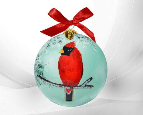 LI BIEN 2021 Authentic Red Cardinal Hand Painted on inside glass ornament.