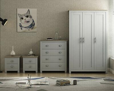 Grey/Oak COUNTRY SUPREME Bedroom Furniture Range - Wardrobes Chests Bedside