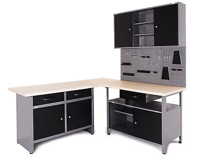 Ondis24 Werkstatt Set Karsten 170 cm Werkbank 2 x Werkstattschrank+Sistemo 2 Set