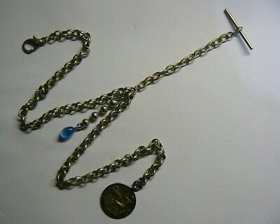 Silver plated Belcher double Albert pocket watch chain & 1925 solid Silver Fob