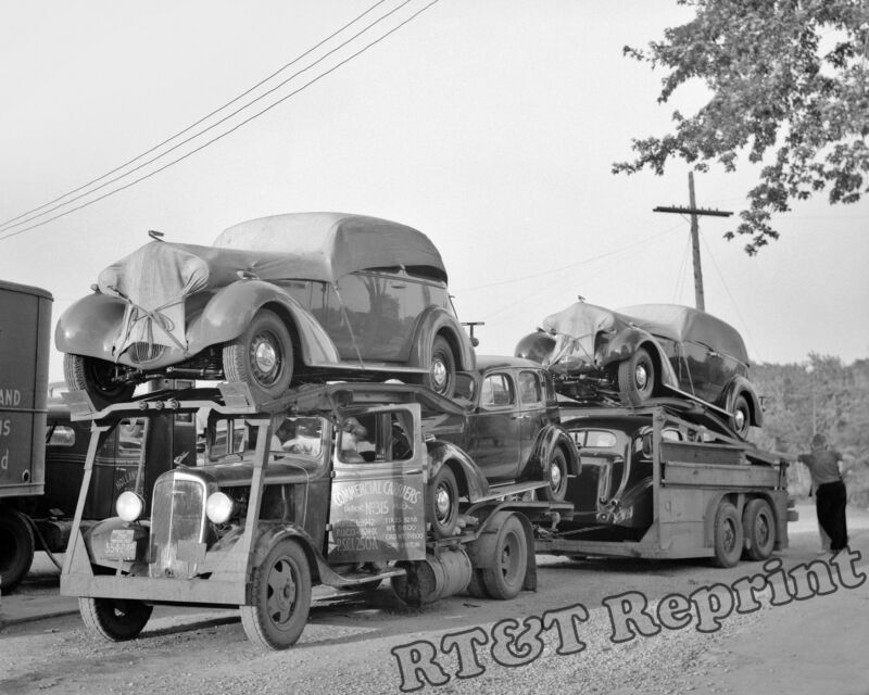 Historical Photograph Commercial Car Carriers Transport Truck 1936 Detroit 8x10