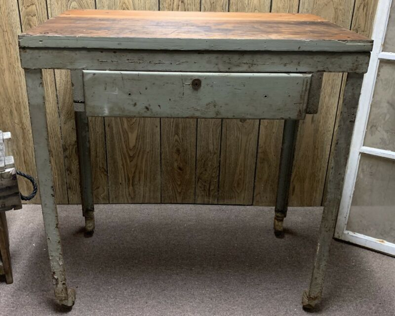 Antique Industrial Mint Green Workbench Drafting Desk Kitchen Island Drawer Vtg