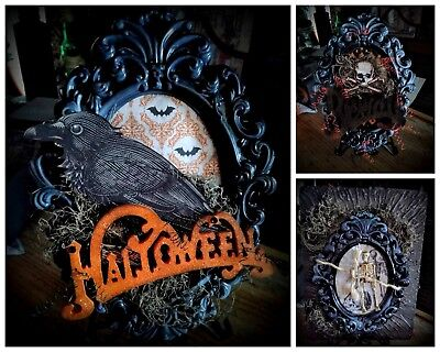 Halloween Spooky Vintage Frame Beware Crow Raven Goth Scary Fun Decor](Gothic Victorian Halloween Decorations)