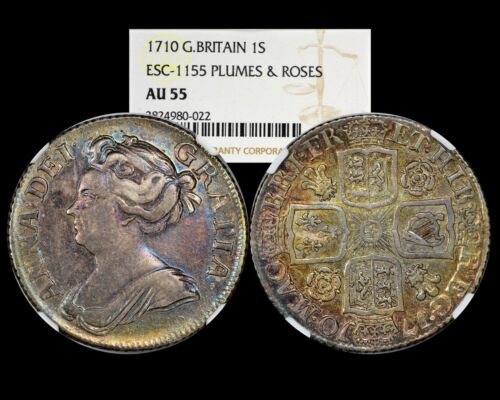 1710 Great Britain Queen Anne Shilling  NGC AU55  Toning