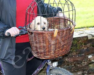 Full Wicker Bicycle Dog Bike Basket Cat Puppy Small Pet Carrier Travel Easipet