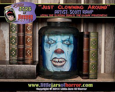 Scary Clown Head in a Jar- Halloween/Horror Prop/Decor/Art-  Fetid Green - Head In A Jar Halloween Prop