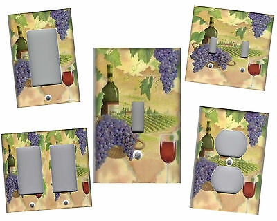 - TUSCAN WINE BOTTLE AND GRAPES TUSCAN KITCHEN HOME DECOR LIGHT SWITCH PLATES