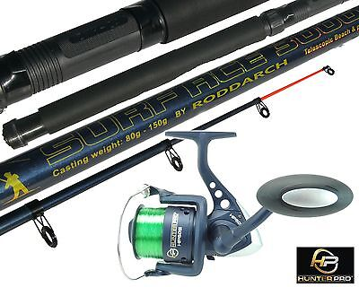 10ft Telescopic Sea Fishing Kit Rod & Reel Set + Line. Beachcaster Pier Surf Rod