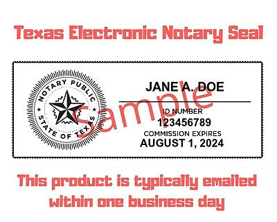 Texas Electronic Notary Seal Digital Download