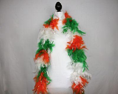 IRISH w/SILVER TINSEL Feather Boa - 6 FEET, 60 GRAMS - Parades, Parties, Costume