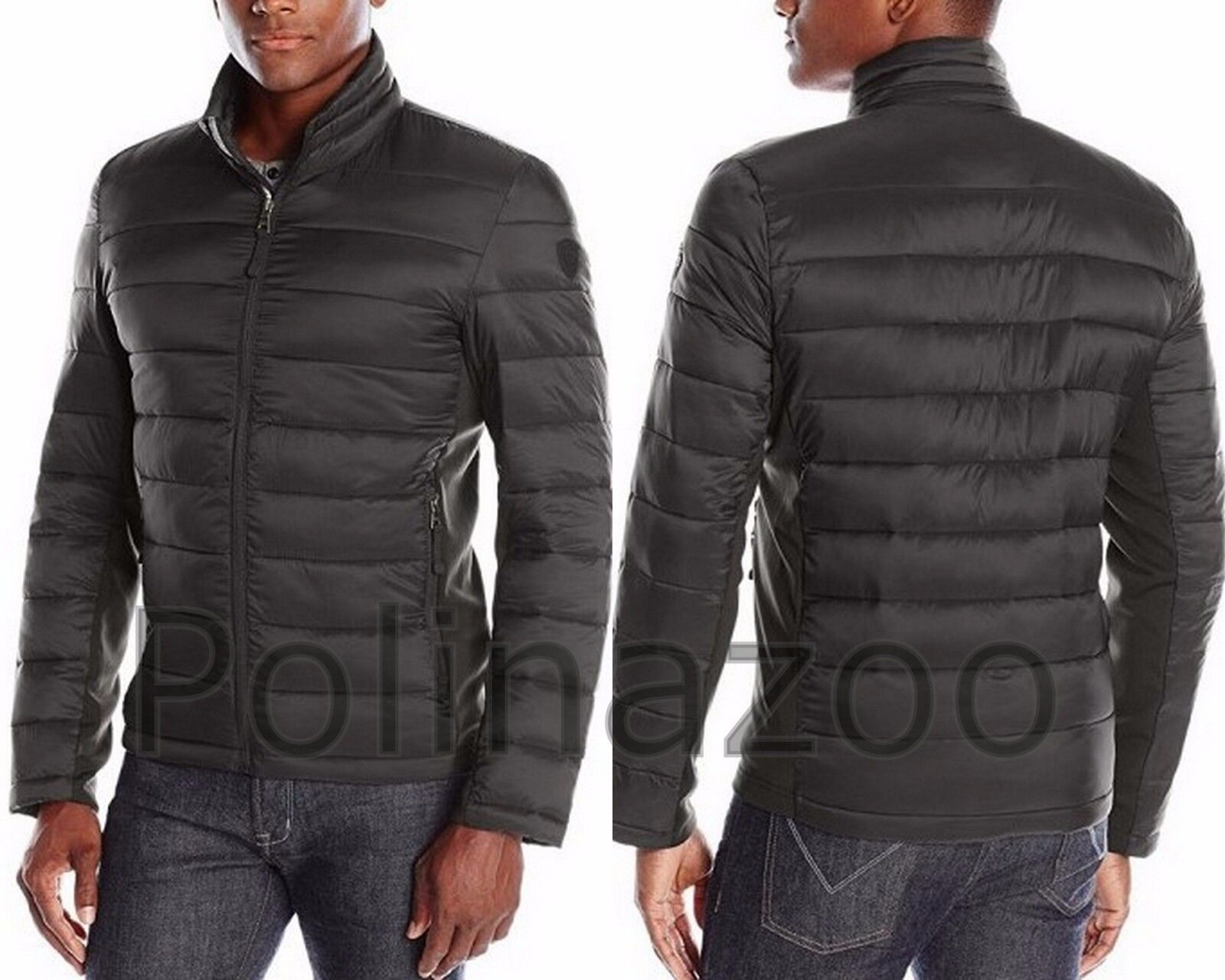 Guess Men S Jacket Lightweight Puffer Winter Black Navy