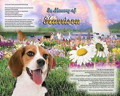 Dog Memorial.-Unique Pet-Loss Gift-Beagle Dog Rainbow Bridge Personalized w/Name