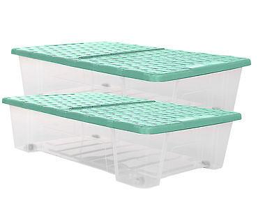 2x Allzweckbox Rollerbox Unterbettbox Aufbewahrungsbox Rattan 25 L Farbe mint