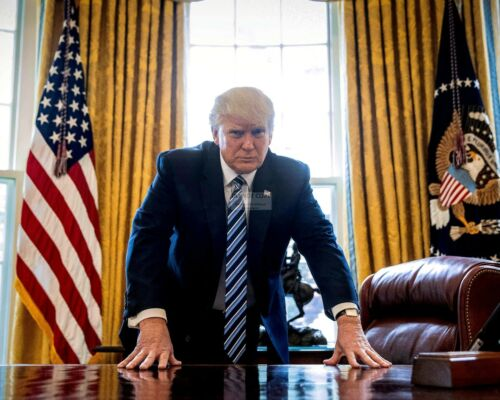 PRESIDENT DONALD TRUMP LEANS ON HIS DESK IN THE OVAL OFFICE  8X10 PHOTO (ZZ-928)