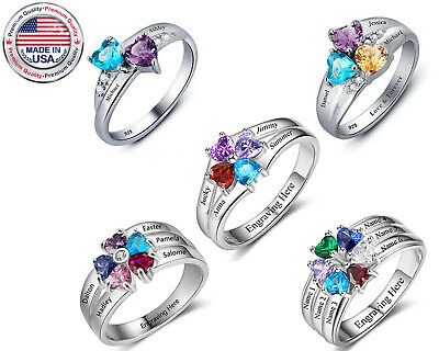 Kids Birthstone Rings (Mothers Ring Birthstone Sterling Silver Engraved Kids Names Family)