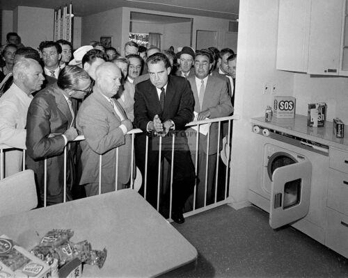 "RICHARD NIXON & NIKITA KHRUSHCHEV IN ""KITCHEN DEBATE"" 1959 - 8X10 PHOTO (EP-924)"