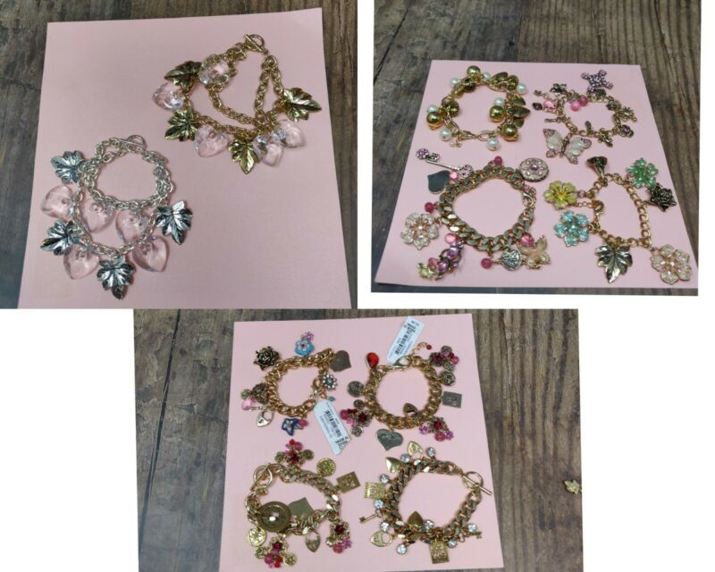 Wholesale Lot of 10 Vintage Style Charmed Bracelets Toggle Butterfly Hearts Leaf