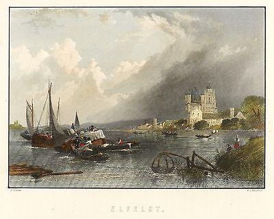 ELTVILLE AM RHEIN - GESAMTANSICHT - Hozier & Adams - kolor. Stahlstich 1872