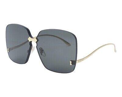 Gucci Sunglasses GG0352S-001 Gold Metal Frame / Gray Lenses