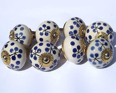 ceramic door knobs Antique White round with Black stems Blue dots (brass) x8