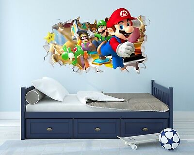 Super Mario Bros Wall Hole 3D Decal Vinyl Sticker Decor Room Smashed SMBWH02