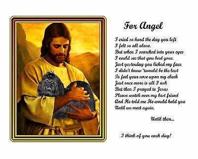 Black Shih Tzu Memorial w/Jesus/Poem Personalized w/Dog's Name- Pet-Loss Gift