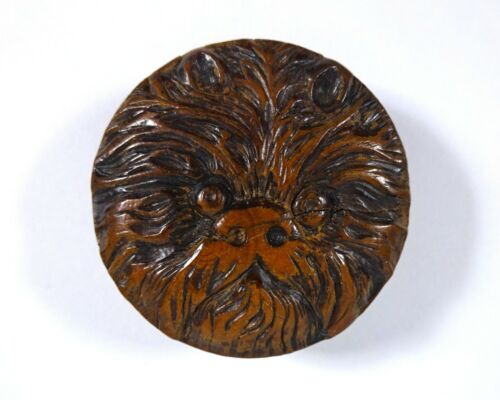 Large Vintage Carved French Wood Button With Hairy Animal Face