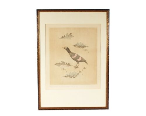 Keiko Minami Signed Abstract Japanese Etching of a Bird and Acorns