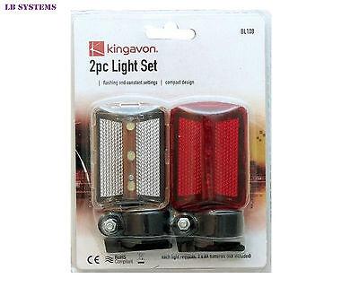 Kingavon Branded 2pc Bike Light Set Flashing & Constant Settings new BL108