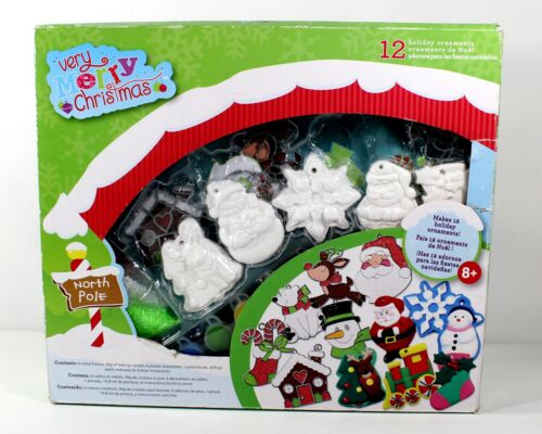 Holiday Ornament Kids Craft Kit New Unopened 12 Plaster/Metal Ornaments, Paint