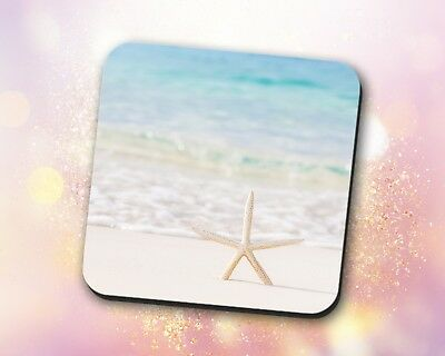 Beach Coaster • Blue Ocean Sea Foam Starfish Nature Gift Decor Desk (Blue Ocean Desk)