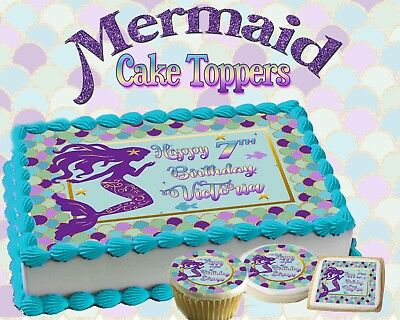 Mermaid Birthday Cake topper Edible paper sugar sheet cupcakes picture sticker - Birthday Painting