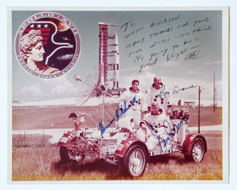 SIGNED! Apollo 17 Original Crew Vintage Kodak NASA Photo: Schmitt, Evans, Cernan