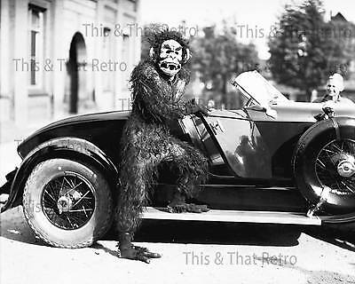 Vintage Image 1928 Person in Gorilla Costume Standing Beside Old Car](Old Person Costumes)
