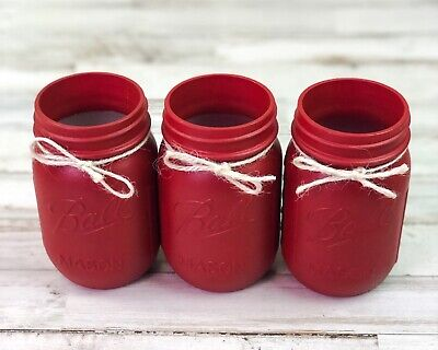 Barn red country farmhouse style hand-painted pint mason - Painted Halloween Mason Jars