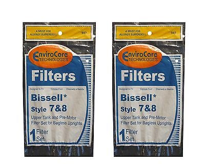 (2 Sets) Bissell Vacuum style 7/8/14 Foam Filter Kit 3093 Cleanview type Part...