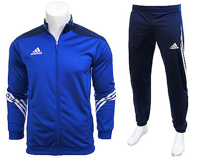 Adidas Full Mens Tracksuit Zip Jogging Top Bottoms 3 Stripe Blue Size S - XXL